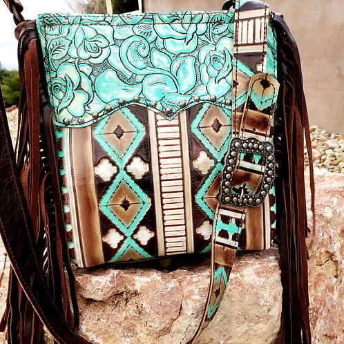 Turquoise Aztec and Roses Crossbody Bag