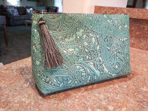 Turquoise Paisley Freestanding Cosmetic Bag
