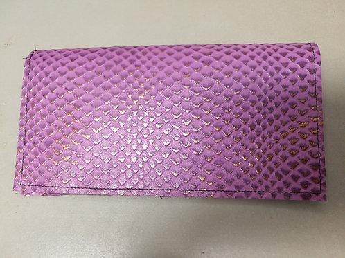 Purple Snakeskin Embossed Checkbook Cover