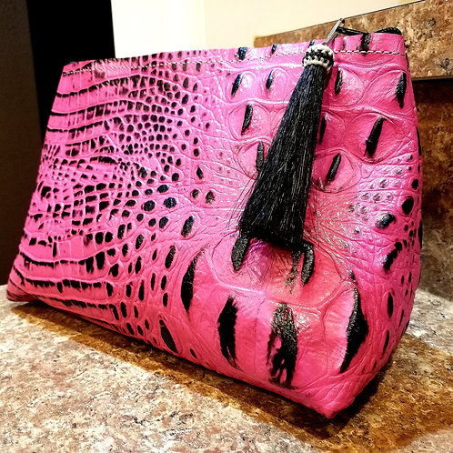 Pink and Black Croc Makeup Bag