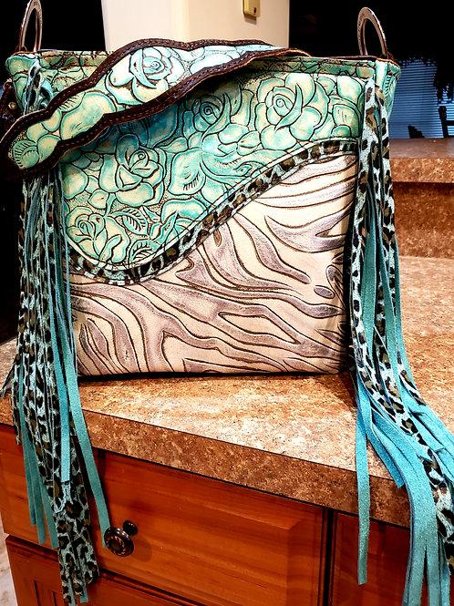 Turquoise Rose and Leopard Shoulder Bag