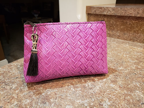 Purple Woven Leather Freestanding Cosmetic Bag