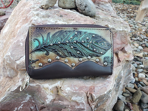 Preorder Sepia Turquoise Feather Organizer Wallet. Ships in one week.