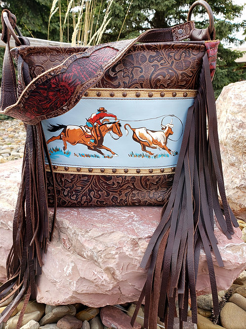 Handpainted Roping Scene  Shoulder Bag