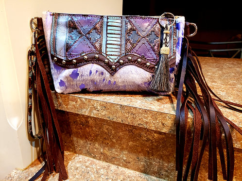Turquoise and Purple Diamond Clutch with a Wallet Interior
