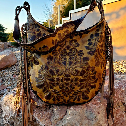 Sepia Floral and Leopard Hobo Bag