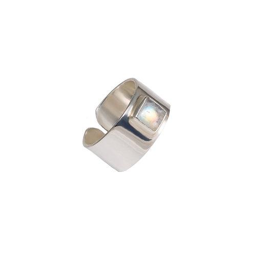 Moonstone Silver Cuff Ring