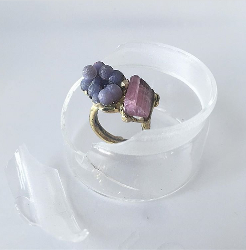 Chalcedony and Tourmaline Ring