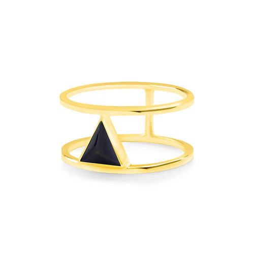 Calla Liliya Ring Gold/Black