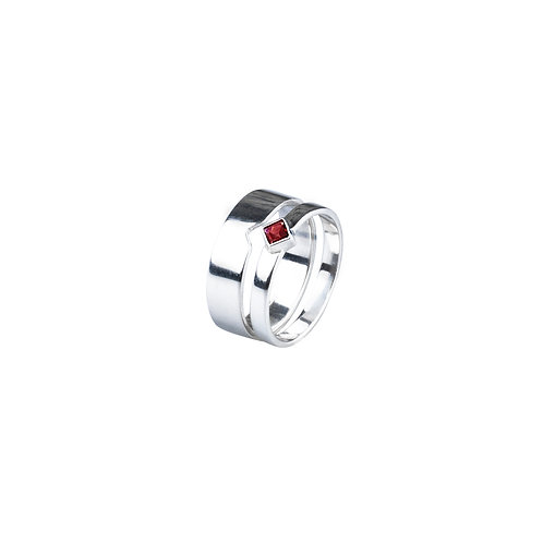 Garnet Twin Ring