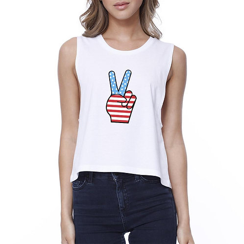 Peace American Flag Graphic Crop Top