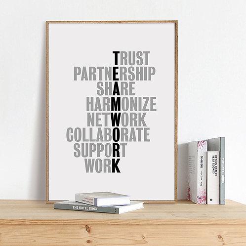 TeamWork Motivational Quotes Canvas Art Print Office Poster Wall Art Decor