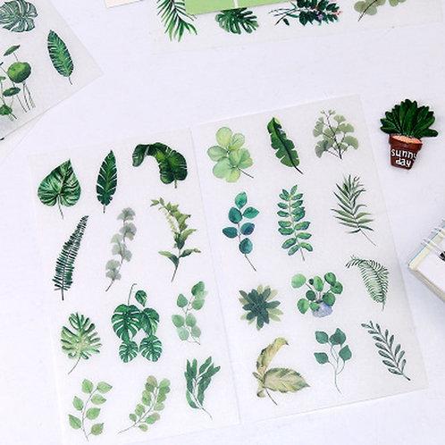 6 Piece Set of Cute Green Leaf Stickers