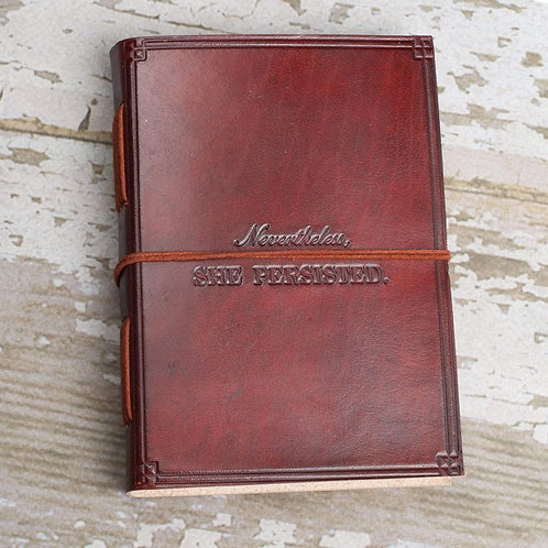 She Persisted Quote Leather Journal - 7x5