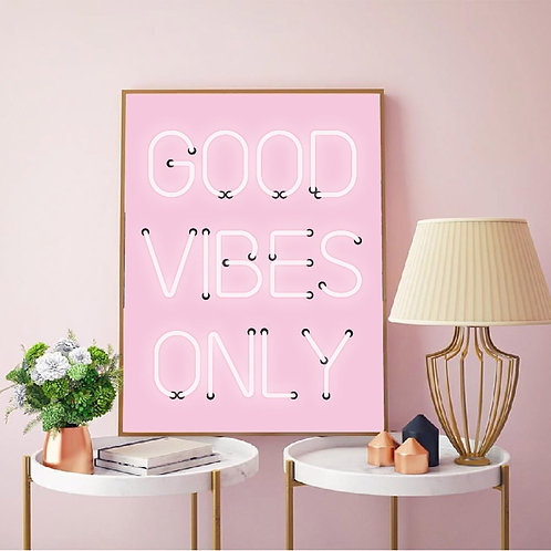 Good Vibes Only Quote Print Neon Lights Sign Wall Art Room Decor