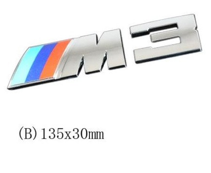 M3 LIGHT BLUE , BLUE, RED SILVER CHROME BADGE