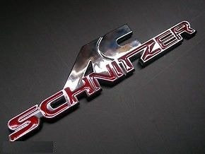 AC SCHNITZER SILVER RED CHROME BADGE