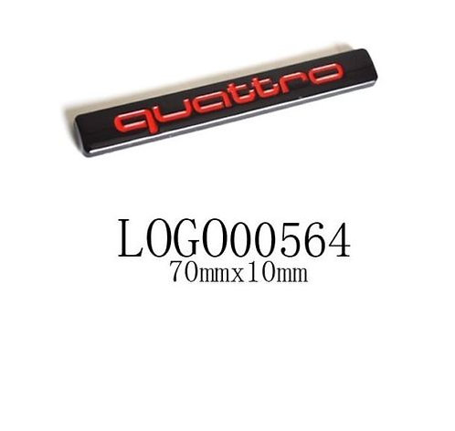 AUDI QUATTRO BLACK, RED , CHROME BADGE EMBLEM