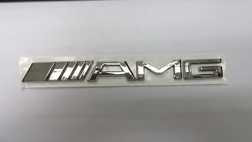AMG GLOSSY SILVER CHROME BADGE