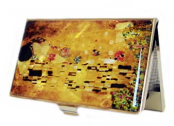 "Mother of Pearl Anti Scan Credit Card Case with Klimt's painting ""Kiss"""
