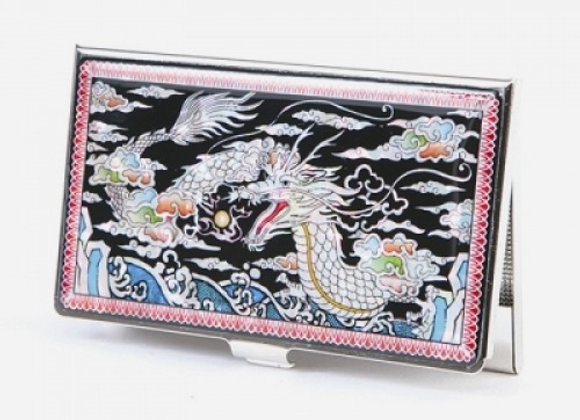 Mother of Pearl Anti Scan Credit Card Case with Dragon Design