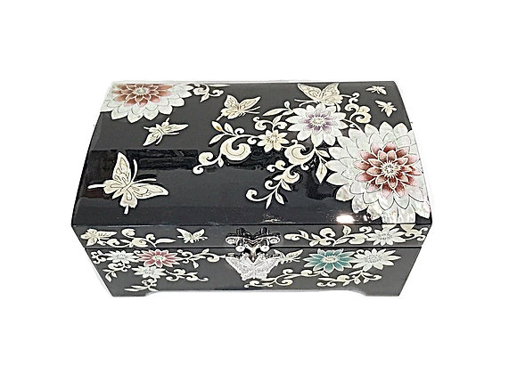 MOP Double Compartment Chest Jewellery Box Inlaid with Lotus Flower Design