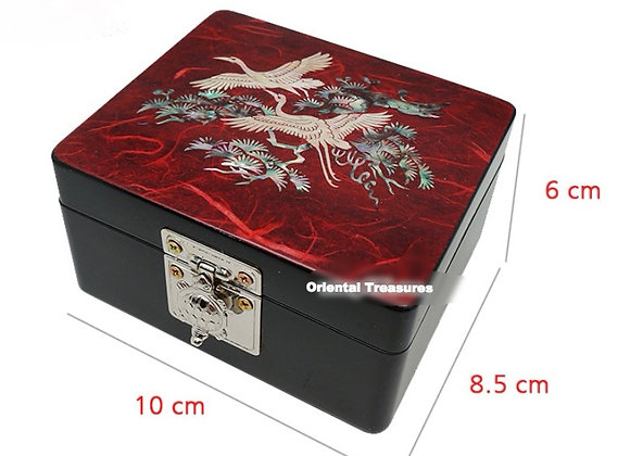 Mother of Pearl Hanji Mini Jewellery Box with Cranes and Pine Tree Desig