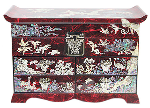 Mother of Pearl Hanji Chest Jewellery Box with Cranes and Pine Tree Design