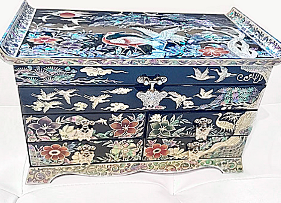 Mother of Pearl Chest Jewellery Box with Cranes, Pine Tree and Wild Blossoms