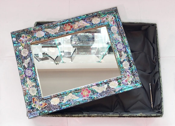 Mother of Pearl Decorative Mirror with Objects of Butterflies and Flowers