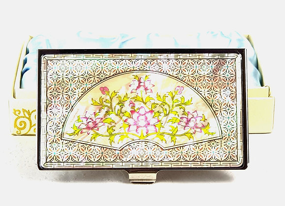 Anti-Scan Credit Card Holder Wallet with Flower Patterned Fan Design