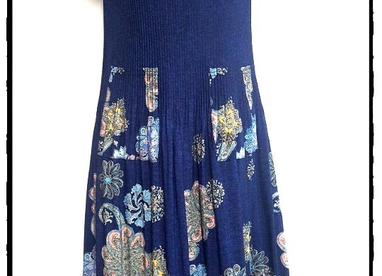 Navy Blue Pleated Sun Flower Patterned Short Sleeved Dress