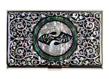 Mother of Pearl Anti Scan Credit Card Case with Double Crane Design
