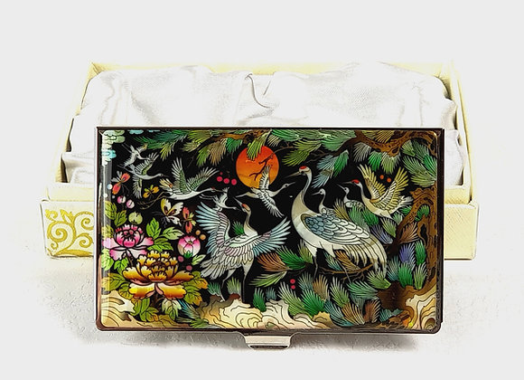 Anti-Scan Credit Card Holder Wallet with Cranes and Magnolia Blossom Design