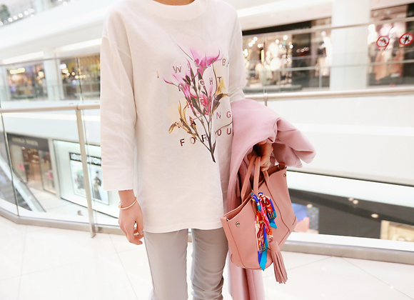 Stylish Long-Sleeved Flower Print T-Shirt