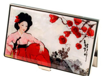 Mother of Pearl Anti Scan Credit Card Case with Woman in Hanbok Design
