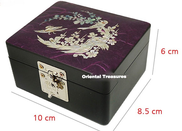 Mother of Pearl Hanji Mini Jewellery Box with Birds and Plum Blossom Des