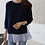 Thumbnail: Two Tone Frilled Inner Top & Back-Slit Knit Top Set