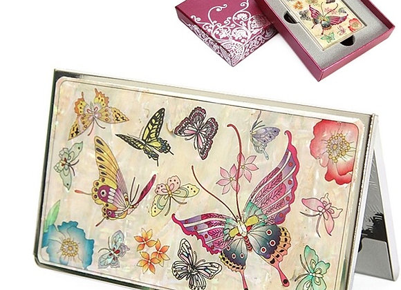 Mother of Pearl Anti Scan Credit Card Case with Tiger Butterfly Design