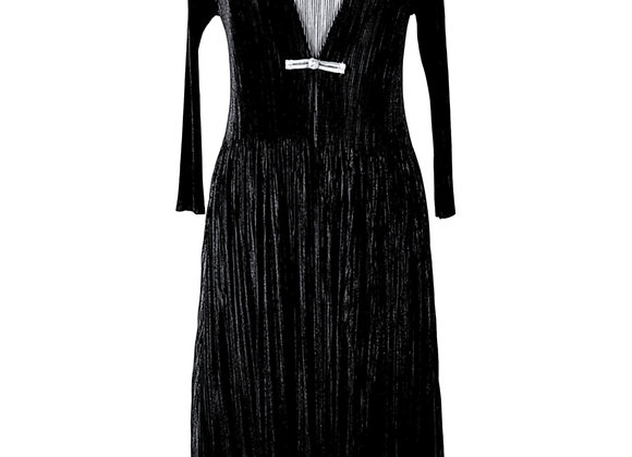Black Pleated Long Cardigan Coat Attached to Silver Grey Elasticated Dress