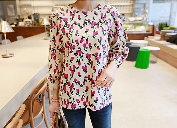 Cacey Flower Print Blouse