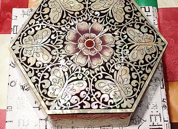 Mother of Pearl Hexagonal Shape Mini Jewellery Box