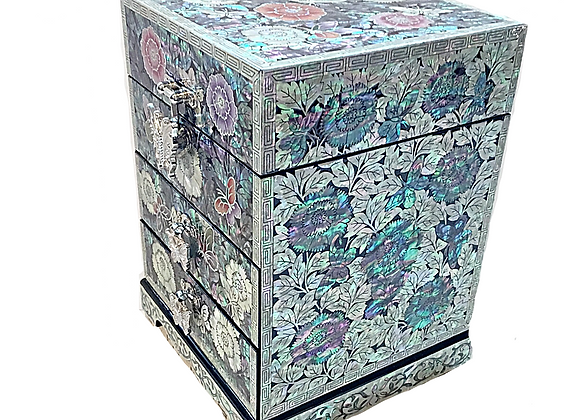 Mother of Pearl 3 Drawer Chest Jewellery Box with Peony Blossoms Design