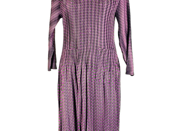 Pink Pleated Swallow Grid Patterned Elasticated Dress