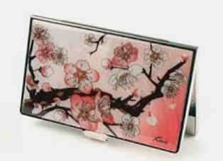 Mother of Pearl Anti Scan Credit Card Case with Pink Plum Blossom Design