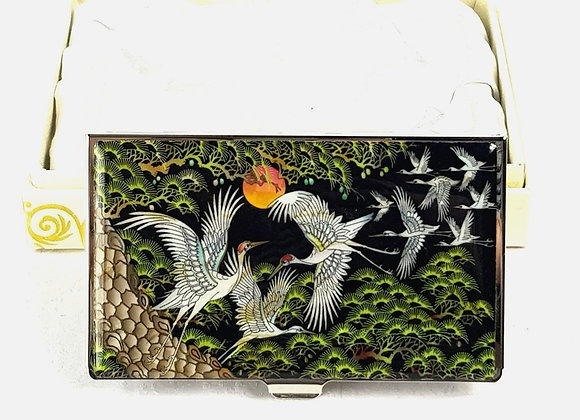Anti-Scan Credit Card Holder Wallet with Cranes and Pine Tree Design