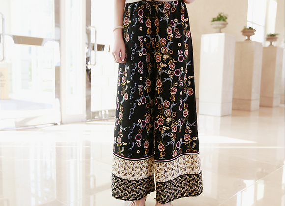 Exotic Style Floral Wide Pants