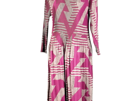 Dark Pink Pleated Diagonal Patterned Elasticated Dress