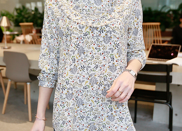 Sophie's Flower Pattern Blouse with Frilled Neck-Line