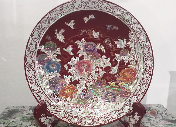 Mother of Pearl Decorative Dish with Objects of Magnolia Blossoms